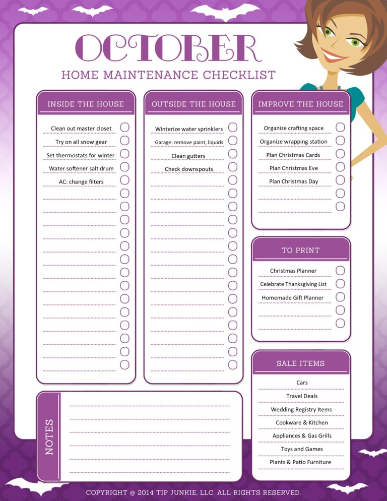 October Organization and Home Repair Checklist