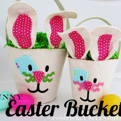 Canvas Bunny Easter Baskets {sew}