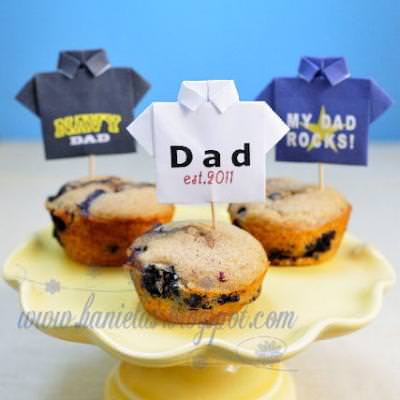 Farther's Day T-shirt Origami Cupcake Toppers