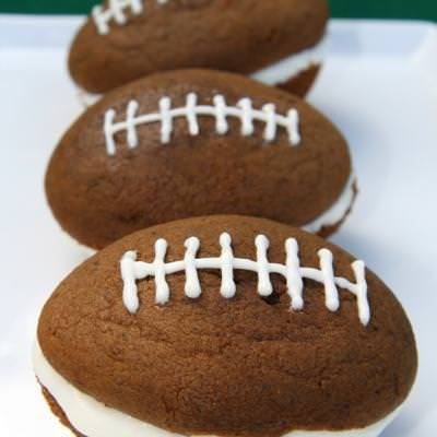Football Shaped Whoopie Pies {Super Bowl Party Food}