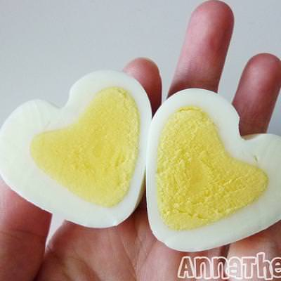 Heart Shaped Hard Boiled Eggs (Food Crafts}
