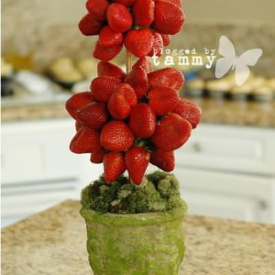 Strawberry Topiary {Edible Fruit Crafts}