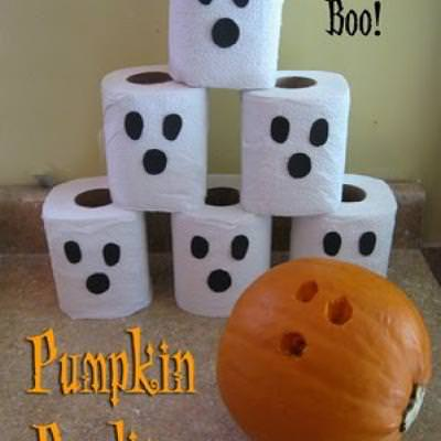 Pumpkin and Ghost Bowling {Halloween Games}