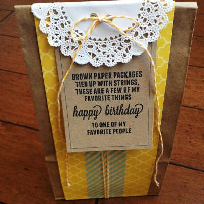 Brown Paper Packages Tied Up With String Birthday Gift {with free printable}