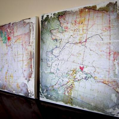 Distressed Map Canvas {How-To}