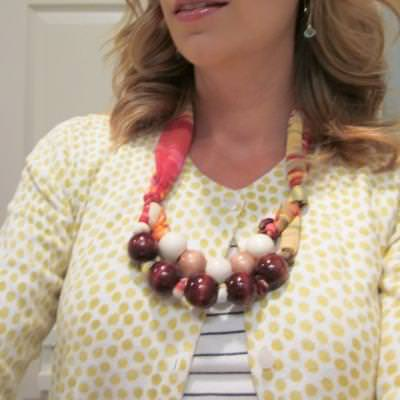 Fabric and Wood Bead Necklace {Tutorial}
