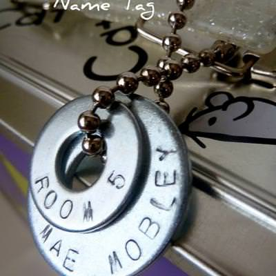 Stamped Washer Name Tag & Necklace