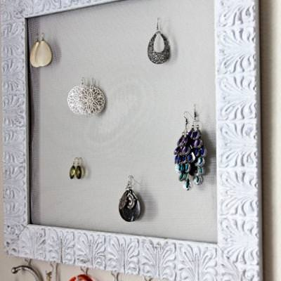 Thrift Store frame into a Jewelry Holder