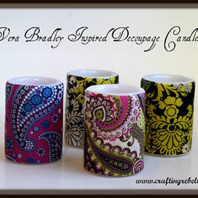 Vera Bradley Inspired Decoupage Candles {Home Decor Gifts}