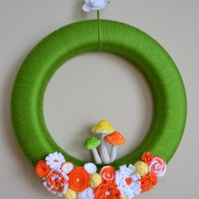 Yarn Wreath with Flowers and Mushrooms