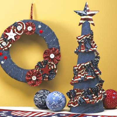 All-American Denim & Flowers Wreath & Denim & Ruffles Topiary