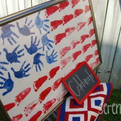Hand and Footprint Flag {Flag Day Activity}