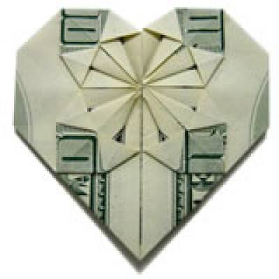 Decorative Money Origami Heart {Instructions For Origami}