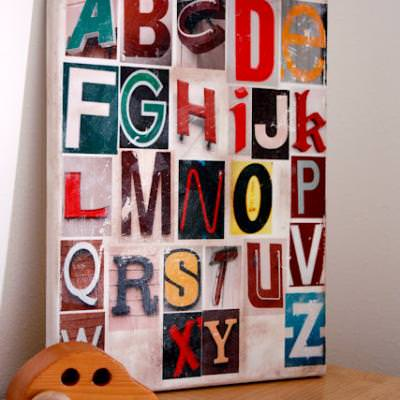 Distressed Alphabet Art {Canvas Painting}