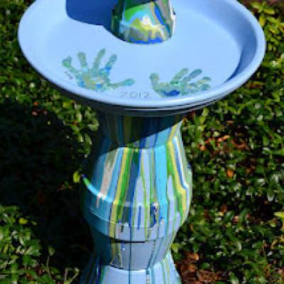DIY Pour Painted Terra Cotta Pot Bird Bath in Blues & Greens
