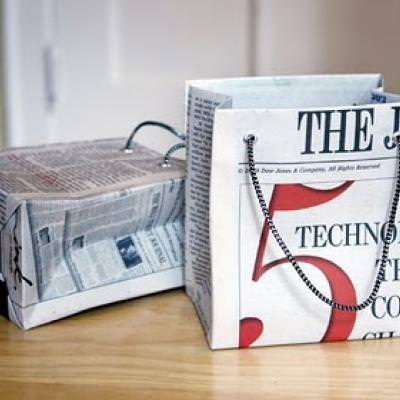 Gift Bags from Newspaper {Recycled Craft}