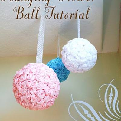Hanging roses flower ball party decoration tip junkie - Hanging paper balls decorations ...