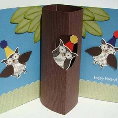 Owl Birthday Cylindrical Pop-Up Card {Happy Birthday Wishes}