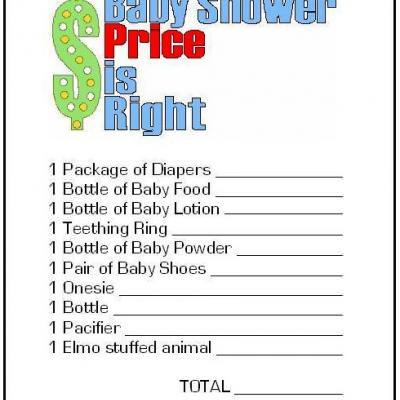 Price is Right Free Printable {Baby Shower Game}
