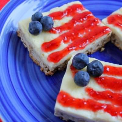 Flag Cheesecake Bars {Flags with Red White and Blue}