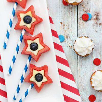 Patriotic Fruit Pops {Red White and Blue}