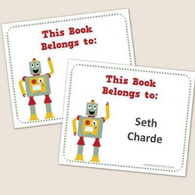 Customizable Robot Book Labels {Printables for Kids}