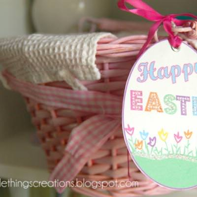 Easter basket charm tag