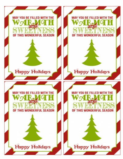 Free Christmas gift tags and mini candy bar wrappers
