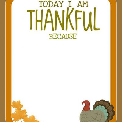 "FREE Printable thanksgiving ""today i am thankful because"""