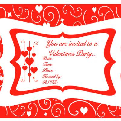 Free Red & White Swirl Valentines Party Printables
