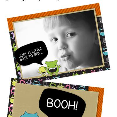 Halloween fully layered card, cupcake toppers and 4 digital papers. super cute and super scary!!