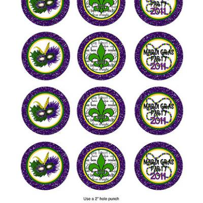 Mardi Gras Printable Treat Toppers