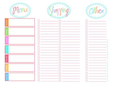 menu and grocery list free printable tip junkie