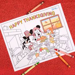 Mickey and Mouse Thanksgiving Coloring Page