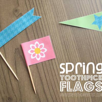 Spring Themed Toothpick Flags