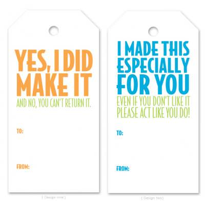 Tags for Homemade Gifts