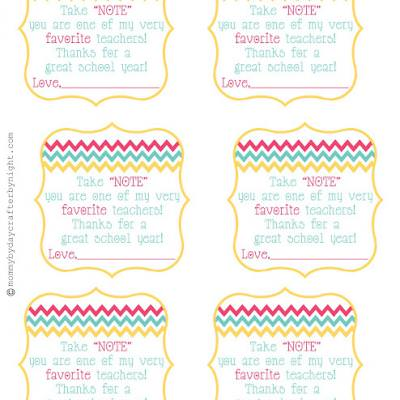 """Take Note"" Gift Tag {Teacher Appreciation}"