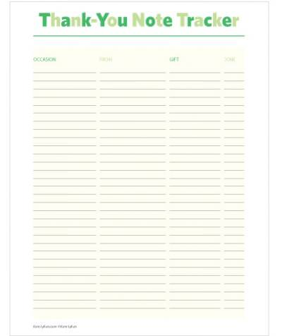 Thank You Note List Printable  Tip Junkie