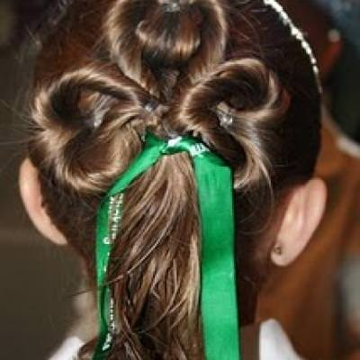 St. Patrick's Day Hairstyle  (Three-Leaf Clover Twists)