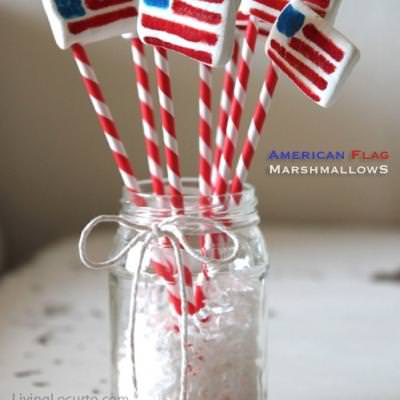 American Flag Marshmallow Pops {4th of July Desserts}