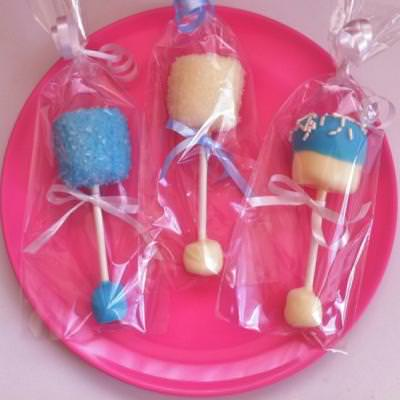Baby Rattle Marshmallow Pops {party favors}