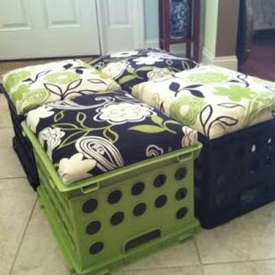 Upholstered Crate Seating and Storage {Benches}