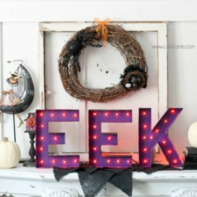 DIY Halloween Marquee Letters {halloween decor}