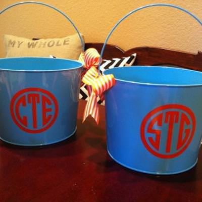 DIY Monogramed Easter Bucket {Easter Baskets}