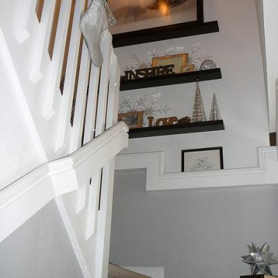 Floating Shelves on Stairway Landing {Stairs}
