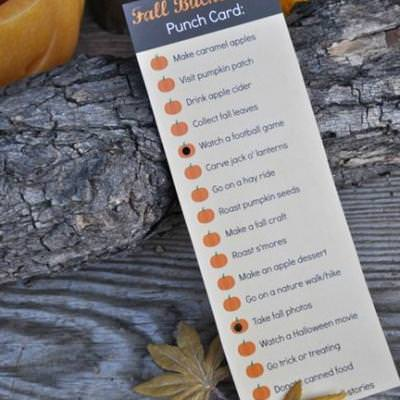 Free Fall Bucket List Punch Card {activity}