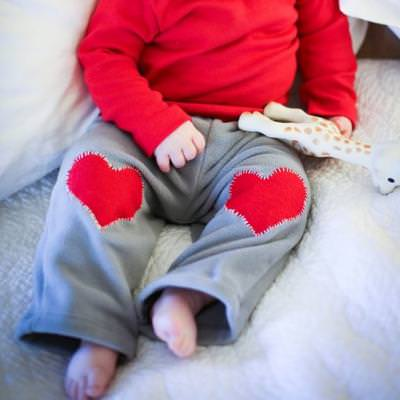 Heart Knee Patch Baby Pants {Pants}