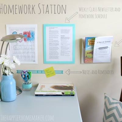 Homework Station Makeover {Home Office}
