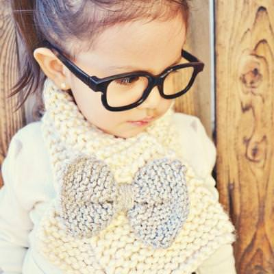 Knitted Bow Scarf {Kids Accessories}