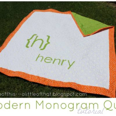 Monogram Baby Quilt {Advanced}
